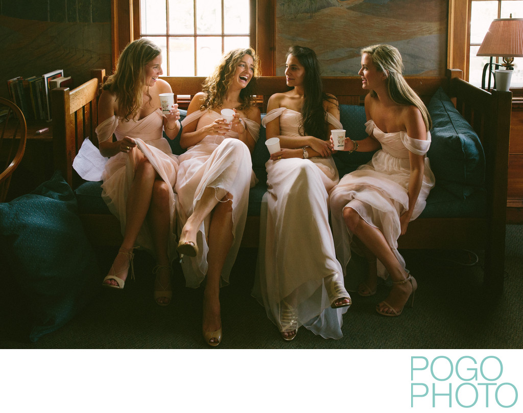 Laughing Bridesmaids before Upstate New York Ceremony