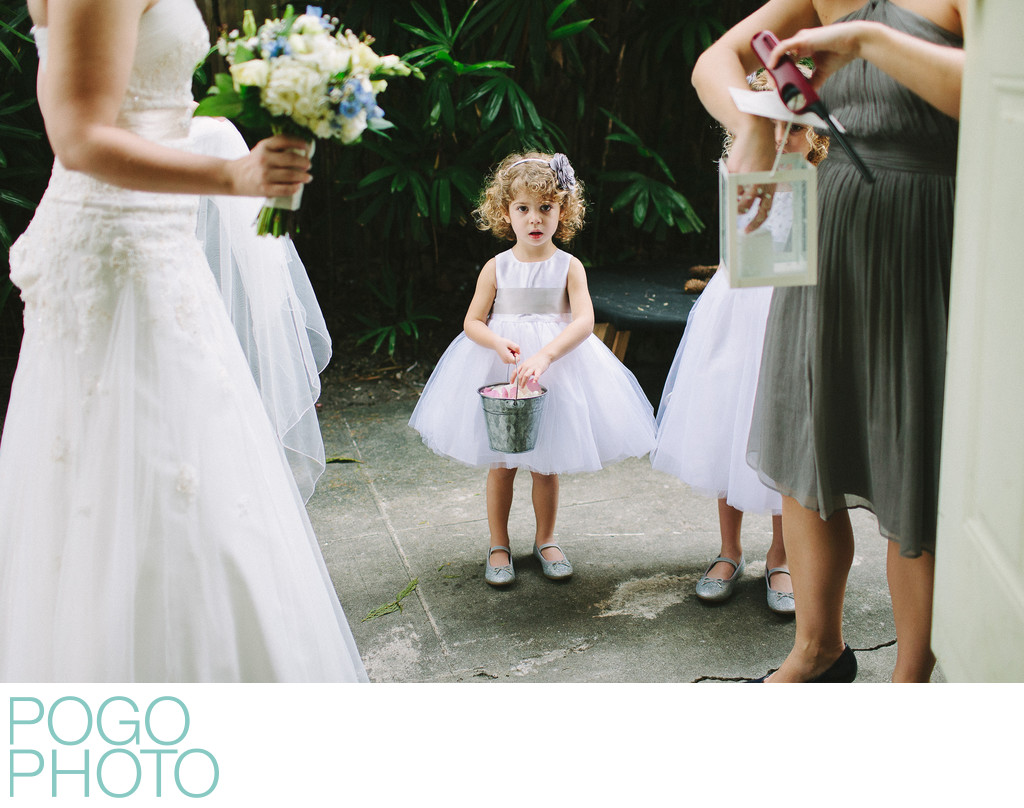 Nervous flowergirl at West Palm Beach Wedding