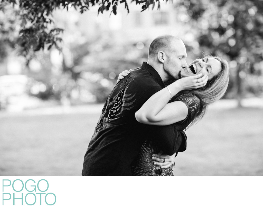 Engagement portraits on the Common, Boston