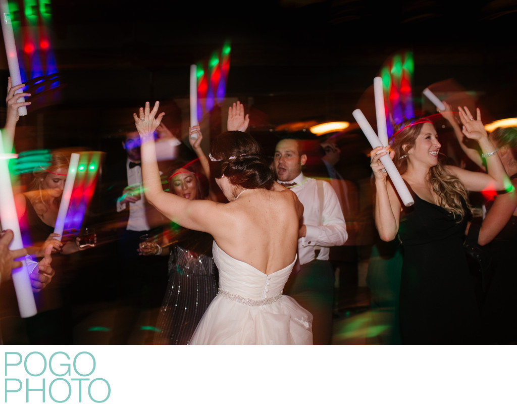Fun LED batons at upscale wedding reception, Palm Beach