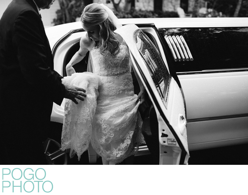 Timeless Image of Bride Exiting Limo Before Ceremony