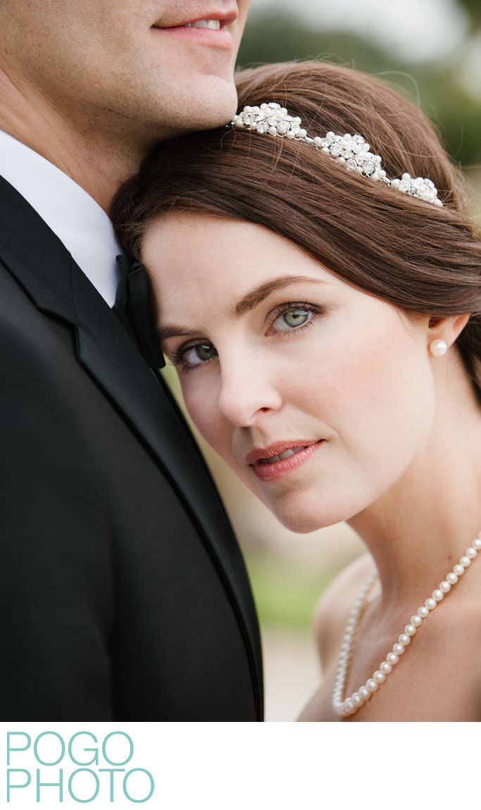 Piercing Gaze From Elegant Bride with Jeweled Hairpiece