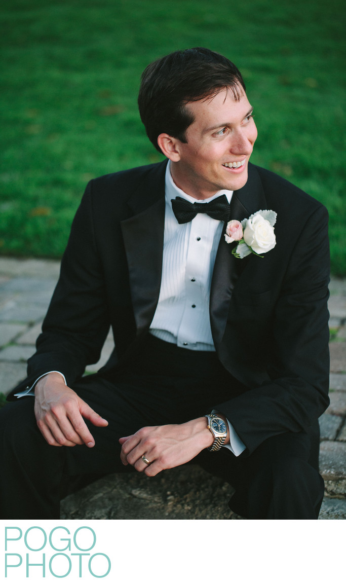 Vermont Groom in Relaxed Portrait Wearing Tuxedo