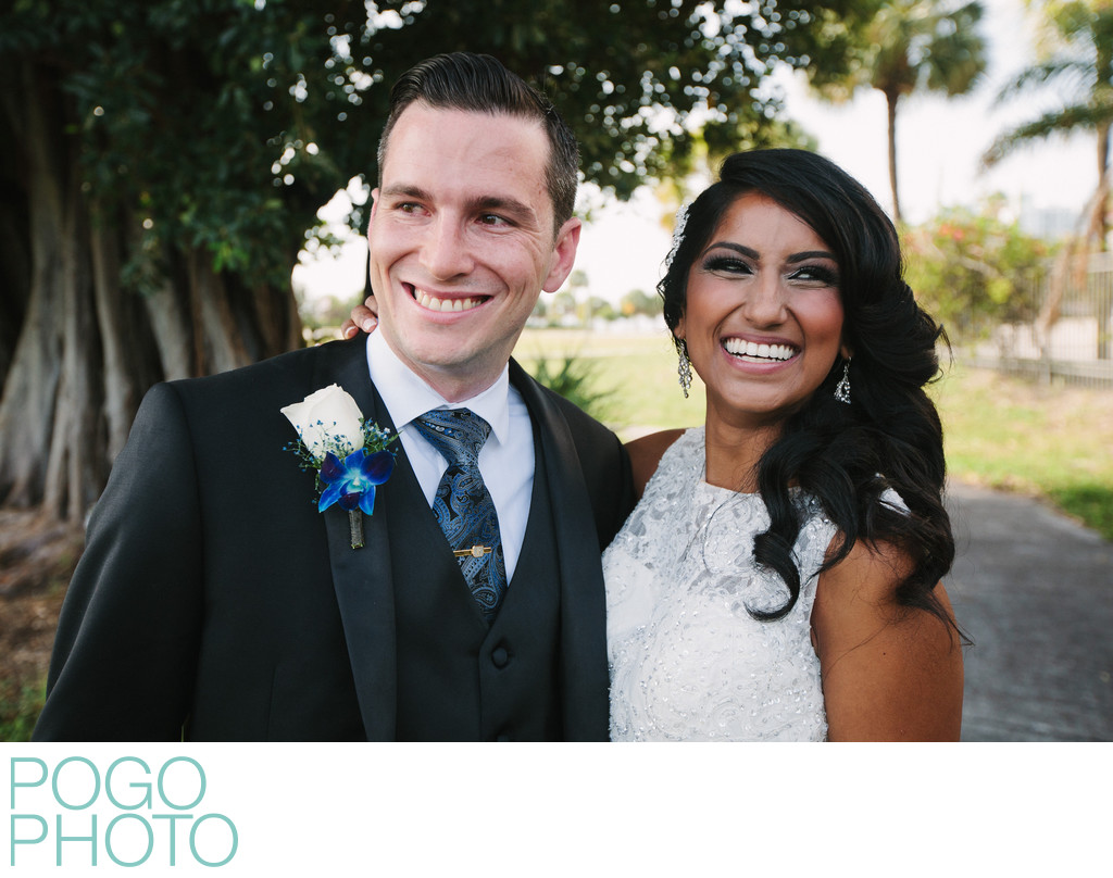 Outdoor Relaxed Wedding Portrait in West Palm Beach FL