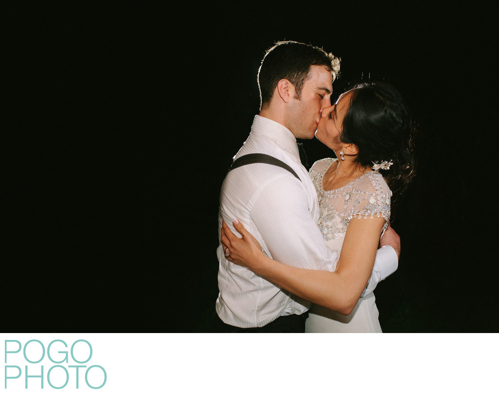 Theatrical Kiss Photograph at Outdoor Reception, Miami
