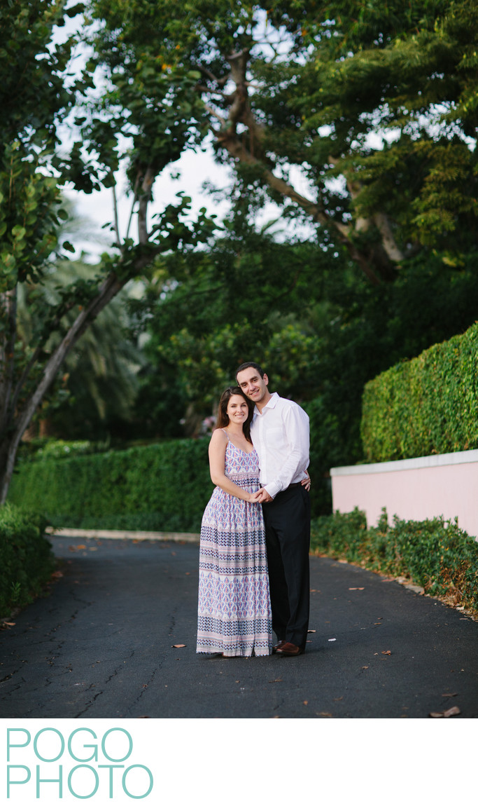 Traditional Engagement Photo on Lake Trail, Palm Beach