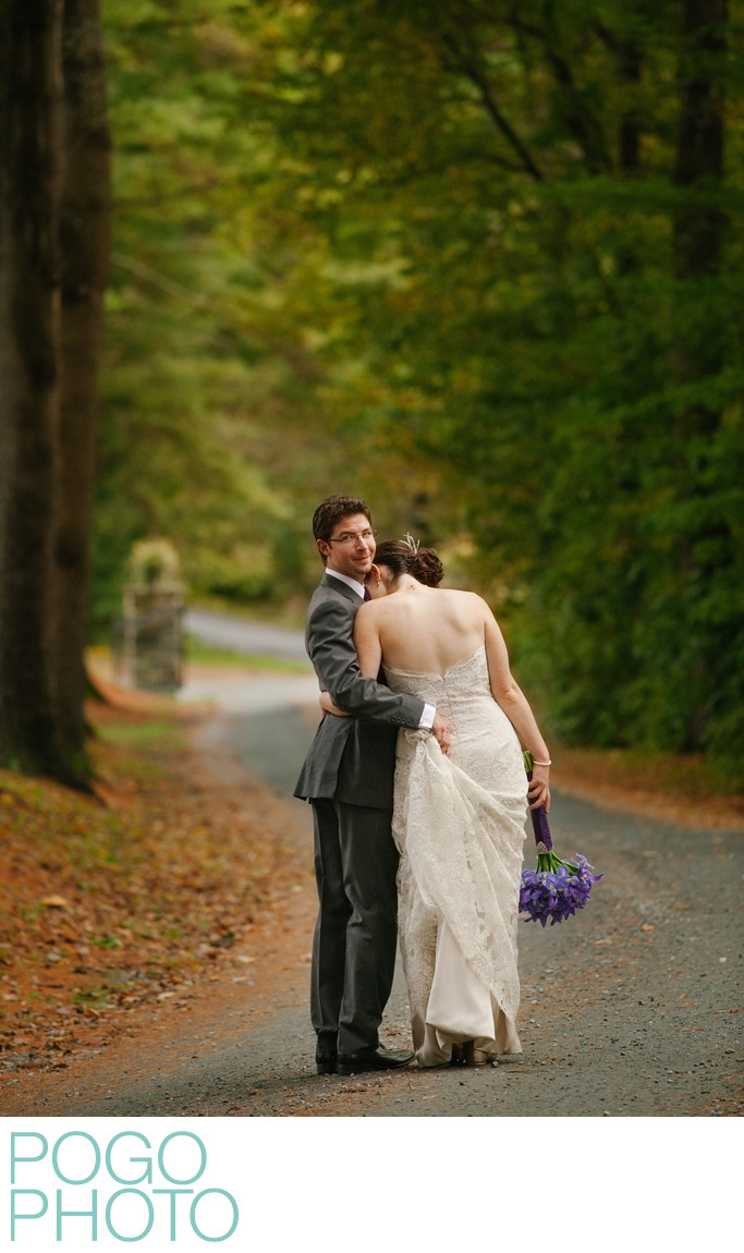 Genuine Couple Portrait Under Vermont Tree Canopy