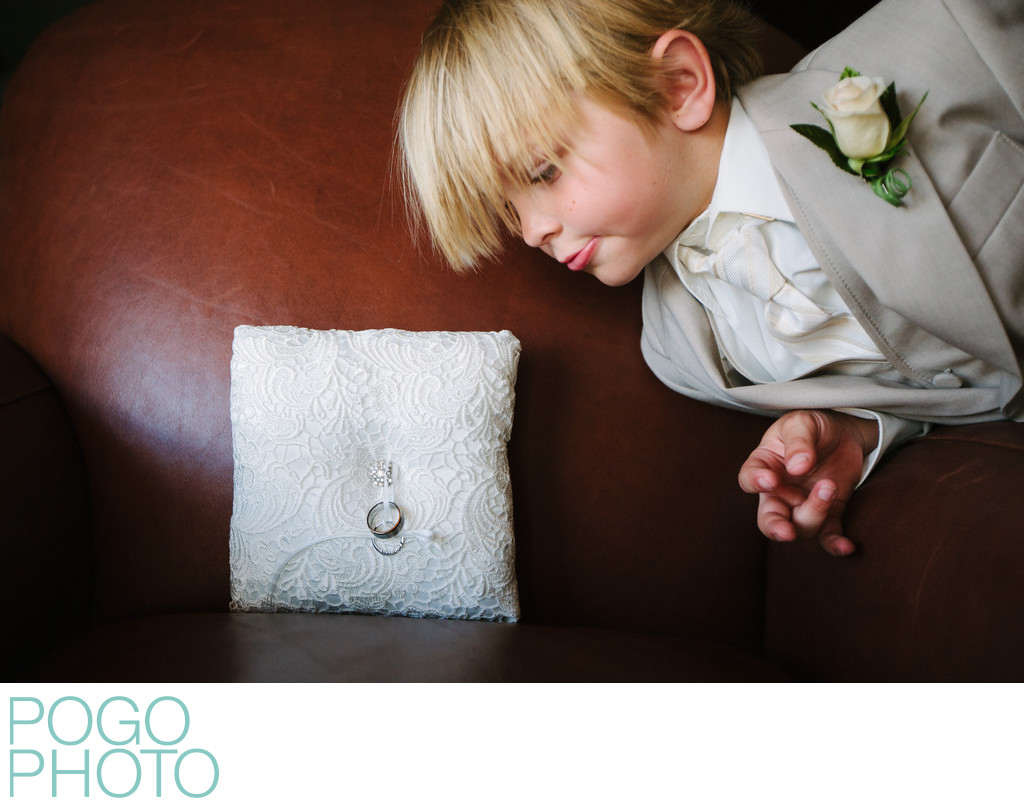 Cute Ring Bearer in Funny Palm Beach, FL Wedding Photo