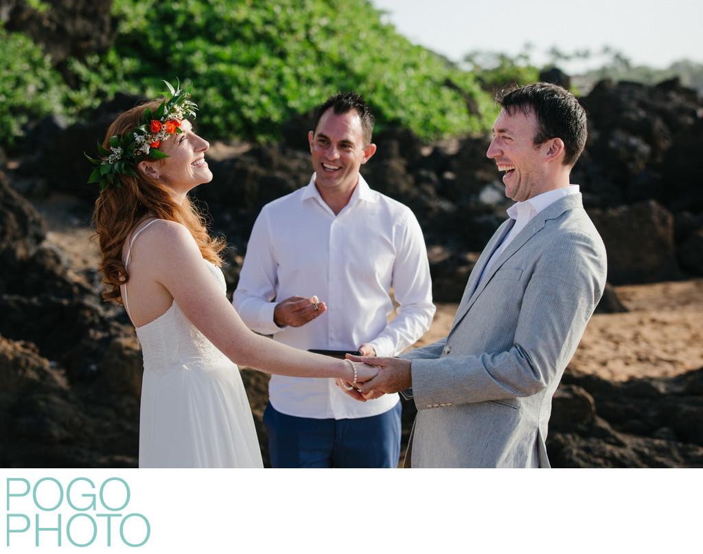 Destination Wedding Photographers on Volcanic Beach