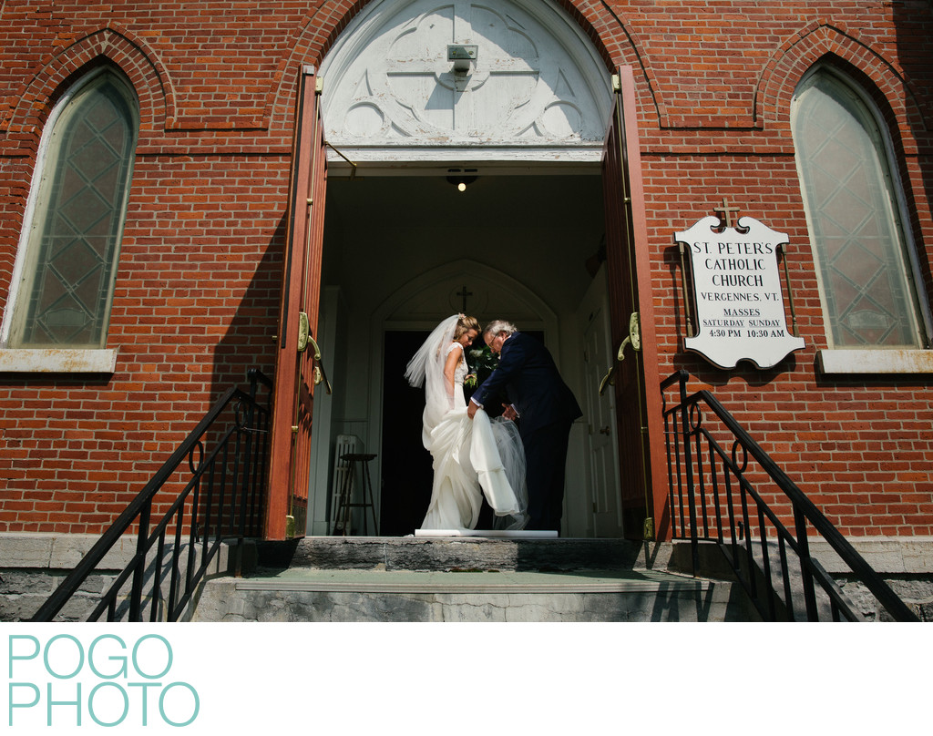 Vermont Church Wedding With Bride Escorted by Father