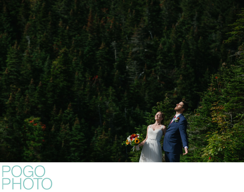 Stowe Bride and Groom Basking in Sun on Mount Mansfield