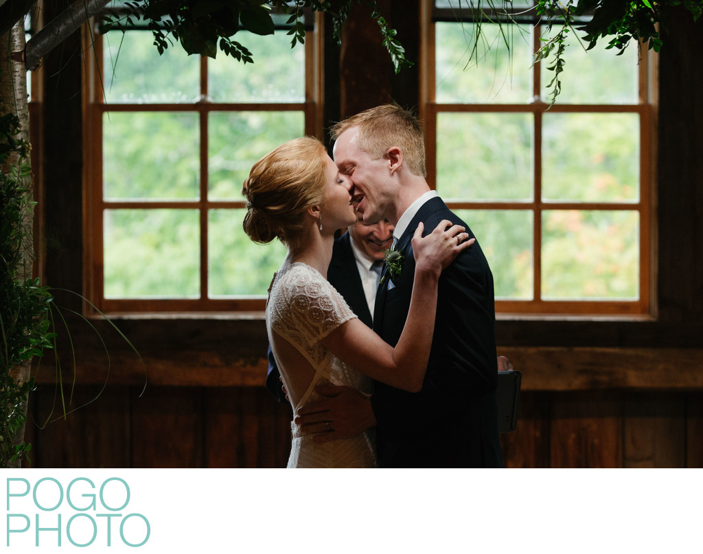 Skinner Barn Photographers Capture Bride and Groom Kiss