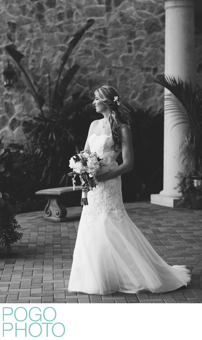 Jupiter Photographers' Classic B&W Bridal Portrait