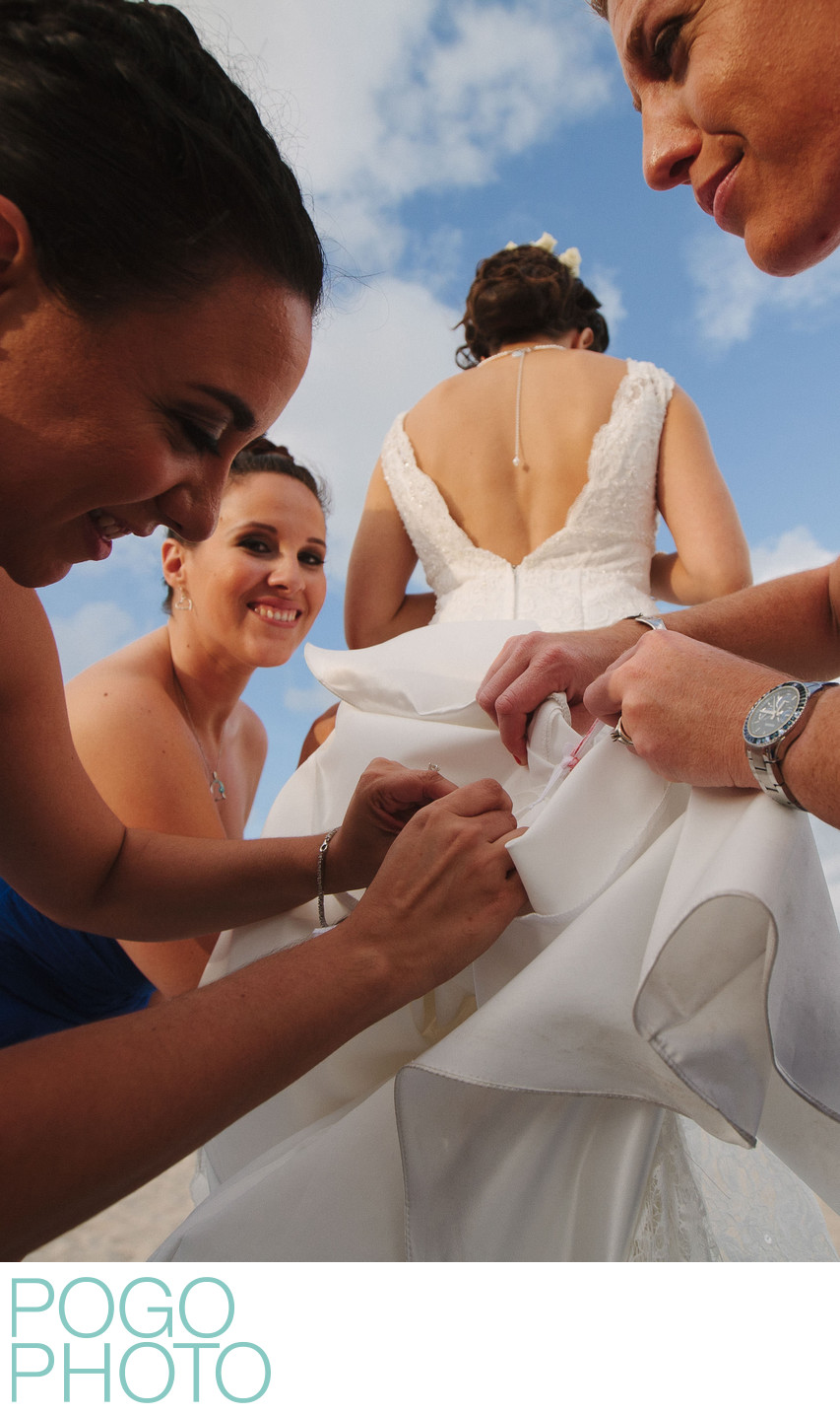Dress Bustling Bridesmaids at Palm Beach Island Wedding