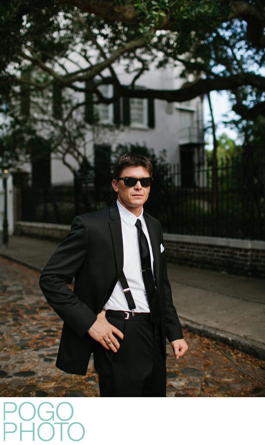 Modern Groom Portrait in Historic Southern Charleston