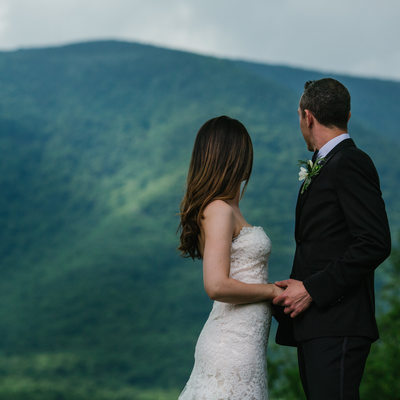 Newlyweds Gaze at Manchester Vermont's Mt. Equinox