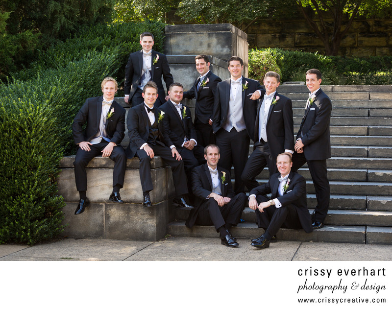 Groomsmen at Philadelphia Museum of Art Stairs