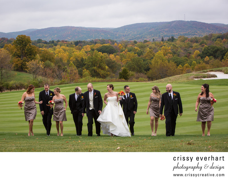 Wedding party on Fairway at Ballyowen Golf Club in NJ