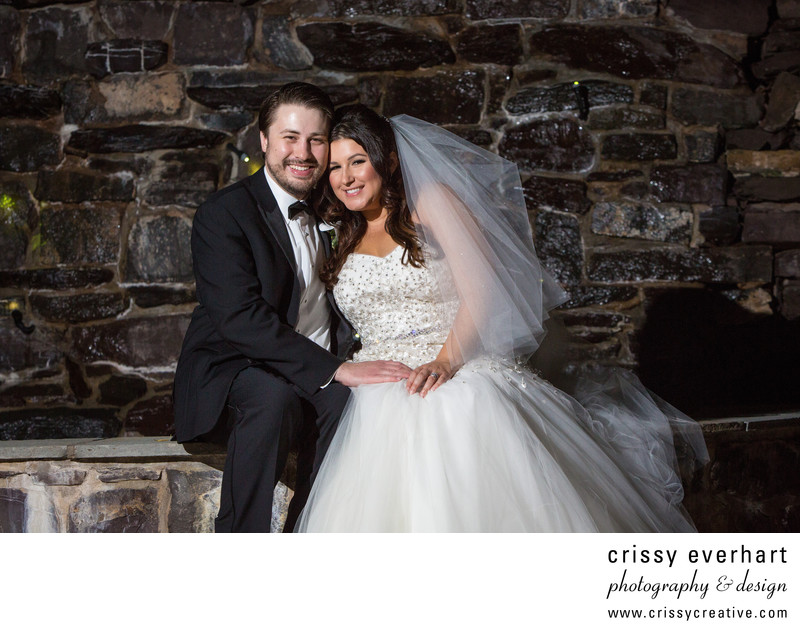 Rivercrest Golf Club Wedding Portrait by Waterfall