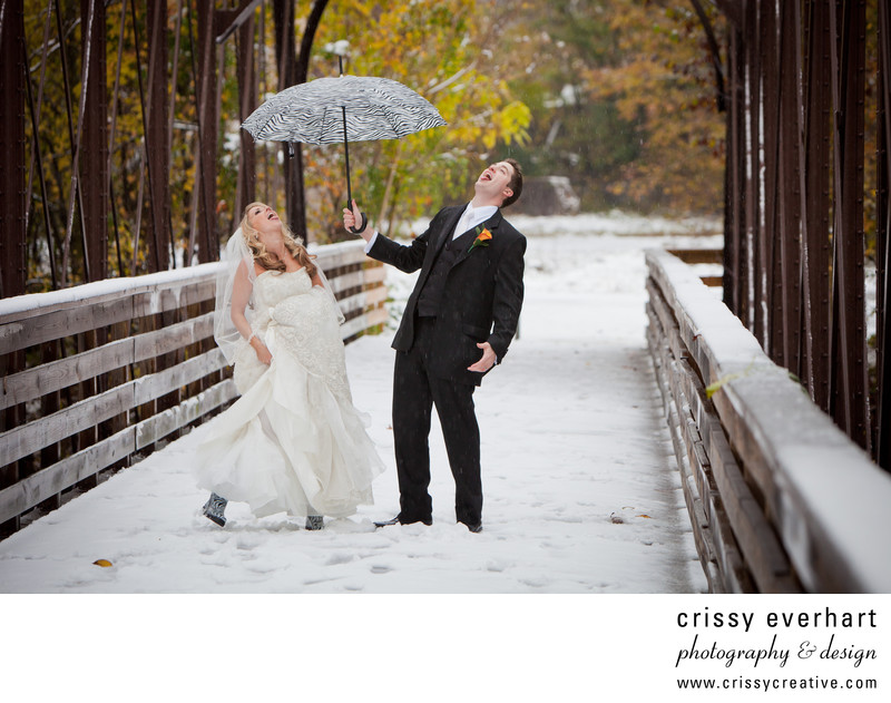 Phoenixville Foundry Snowy Fall Wedding Fun