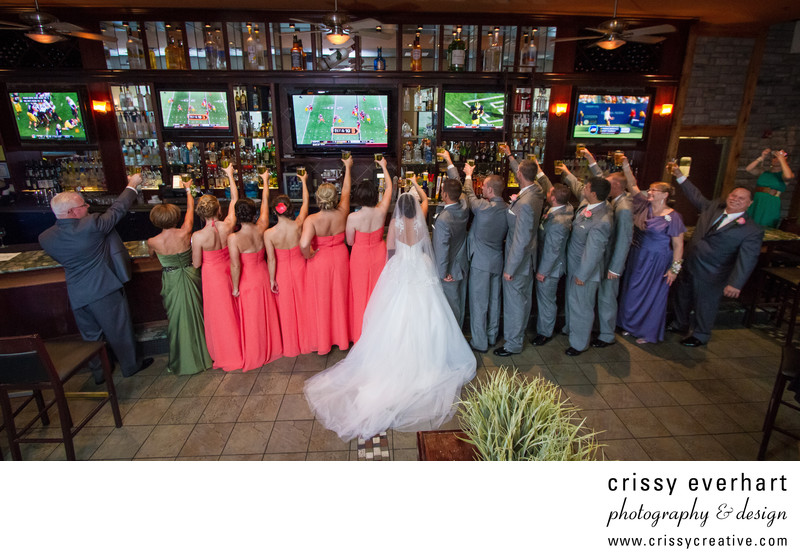 Bridal Party Toast at Landmark Pub in West Chester, PA