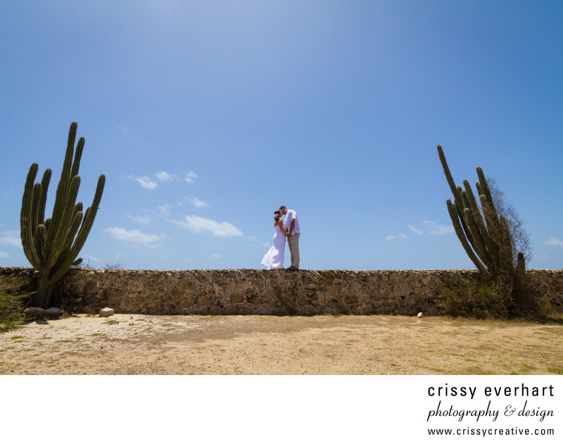 Destination Wedding - Bride and Groom with Cactus