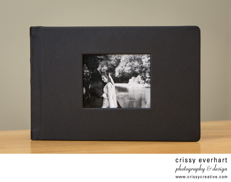 Wedding Album ArtBook- black leather with image cutout
