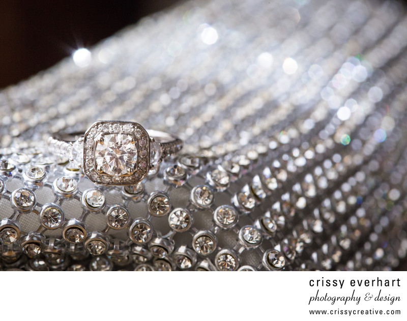 Rivercrest Wedding - Engagement Ring on Bride's Purse