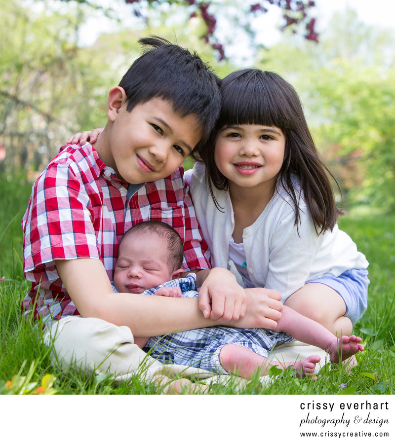 Infant with Two Older Siblings- In Home Newborn Session