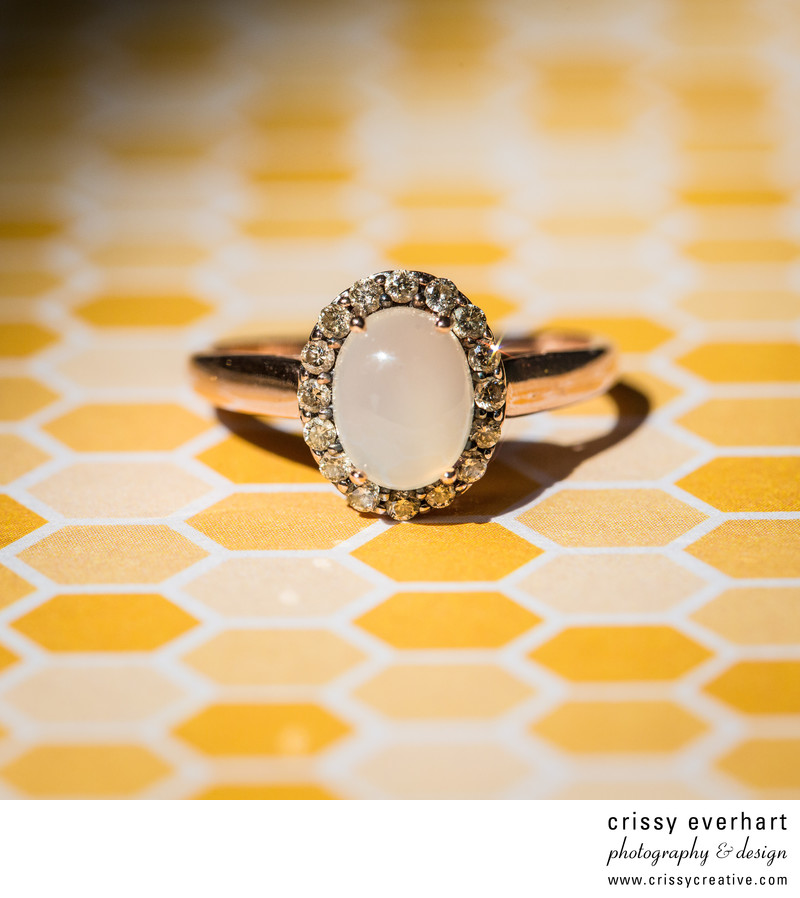 Chester County Wedding - Diamond Ring on Honeycomb