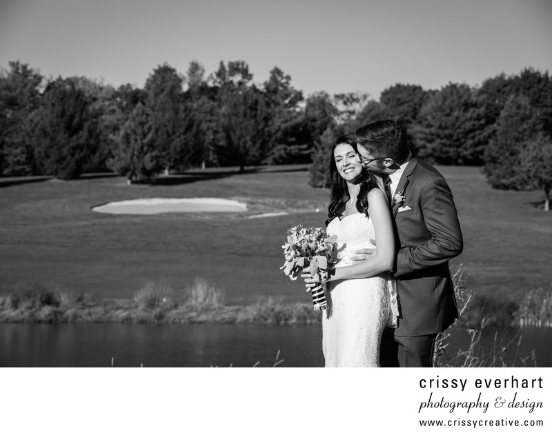 Spring Hollow Golf Club Black and White Wedding Photo