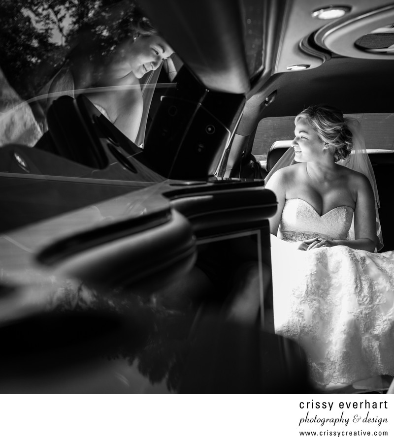 Downingtown Wedding - Bride in Limo with Reflection