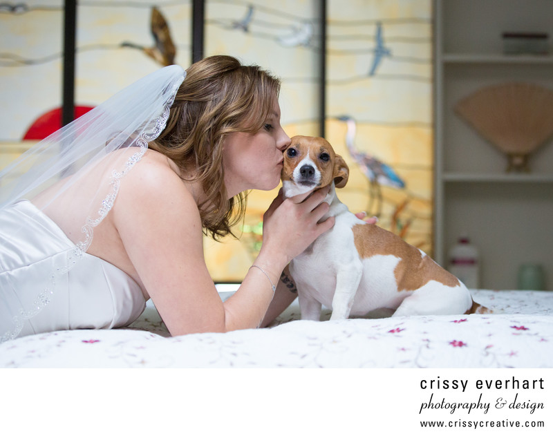 Bride Kissing Dog on Wedding Day - Pet Wedding Photos