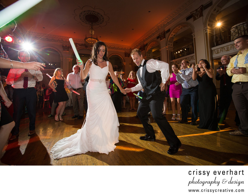 Dancing with Light Sticks at Philly Wedding Reception