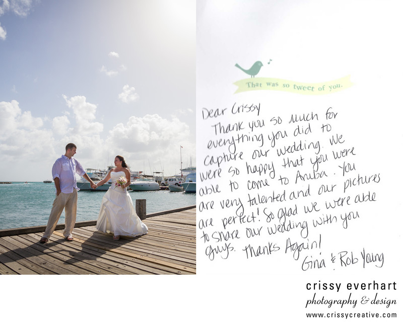 Thank you note from Aruba destination wedding client
