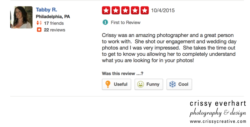 Philadelphia Wedding Photographer Review on Yelp