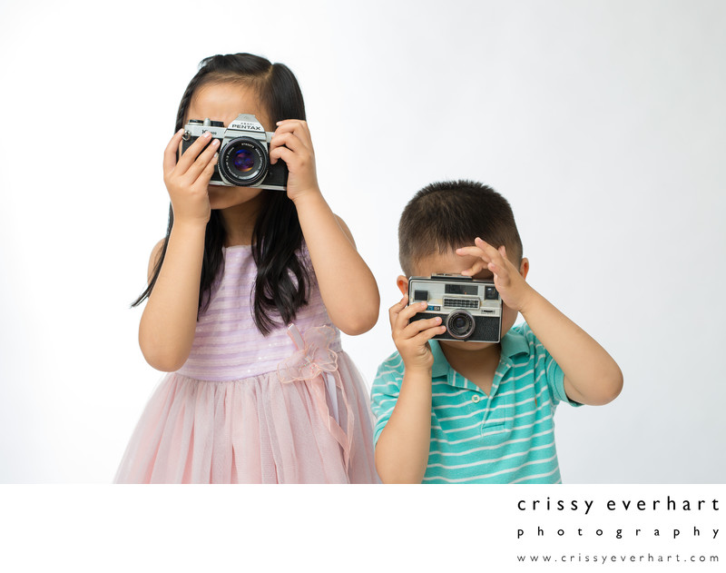 Siblings with Vintage Cameras- Studio Portraits