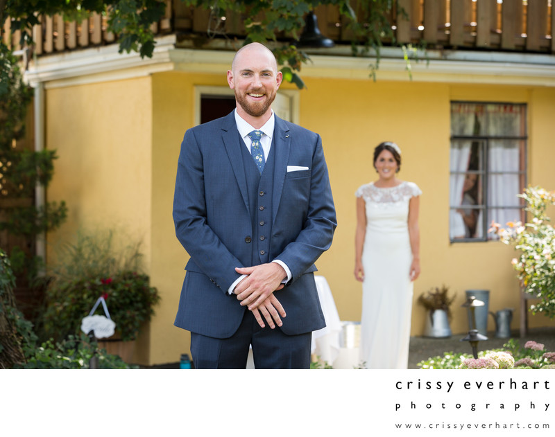 Gables Chadds Ford Wedding- First Look Bride and Groom