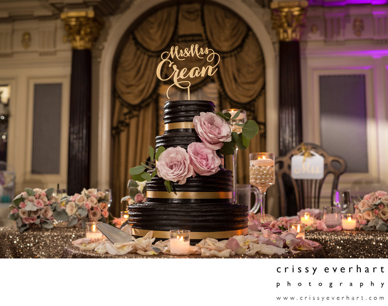 Chocolate Wedding Cake with Pink Roses and Gold Glitter