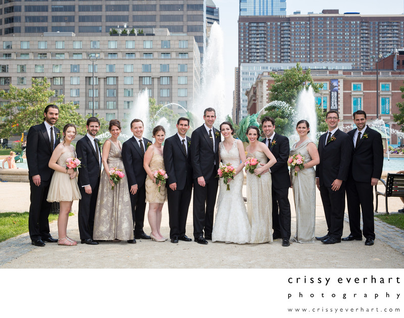 Wedding Party Photos in Philly's Logan Square Fountain
