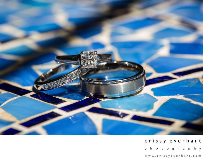 Philadelphia Wedding Photographer- Rings on Blue Mosaic
