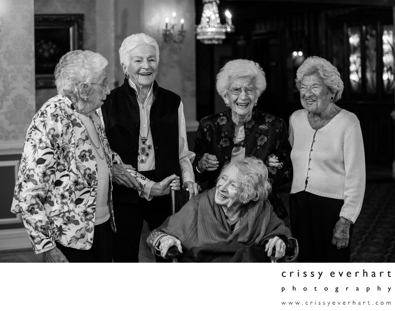 Five 100 Year Old Women at Birthday Party