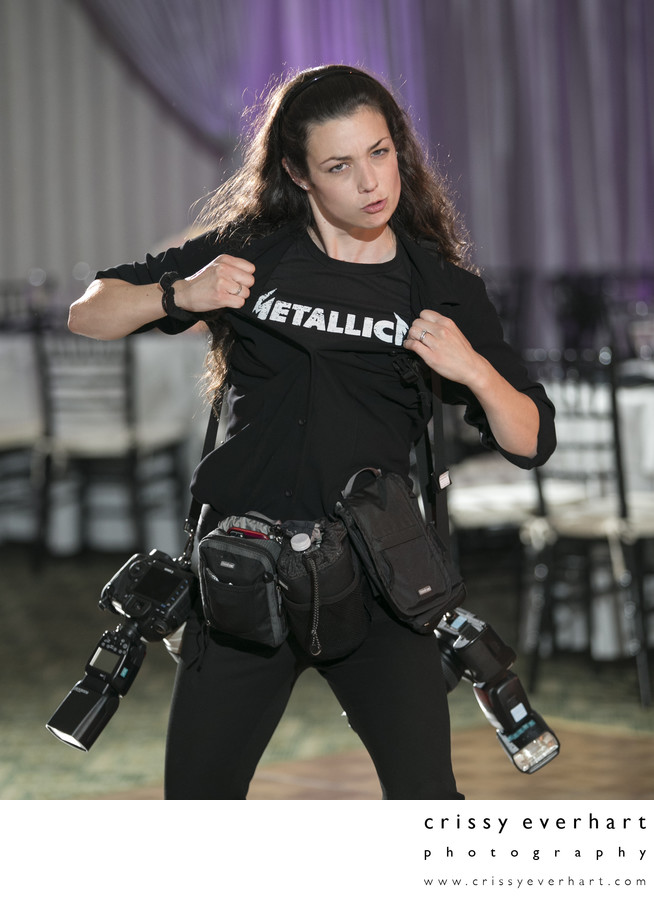Crissy with all her gear and Metallica shirt
