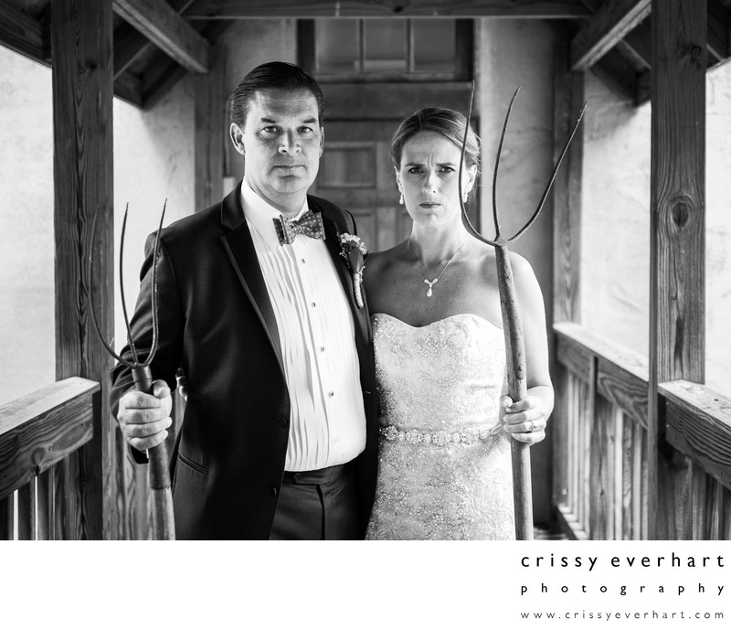 Historic Yellow Springs American Gothic Wedding Photo