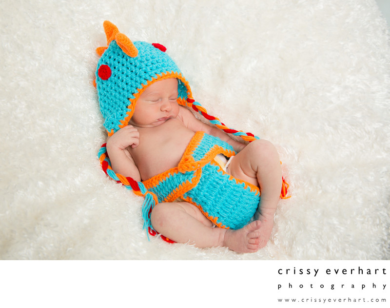 Studio Portraits - Newborn in Knit Dinosaur Outfit