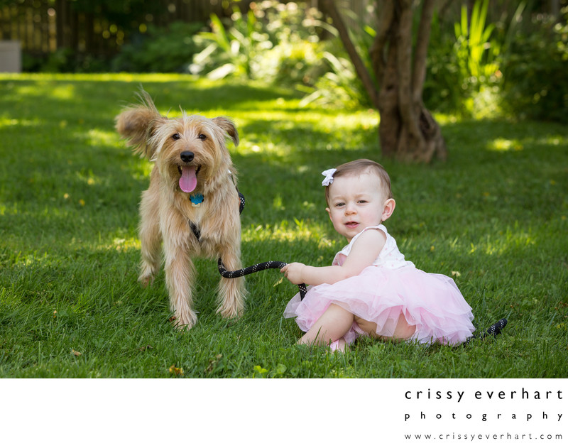 One Year Old with Pet Dog at Outdoor Studio