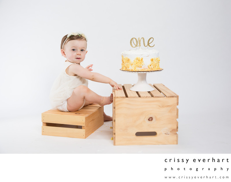 First Birthday Cake Smash Session with Wood Crates