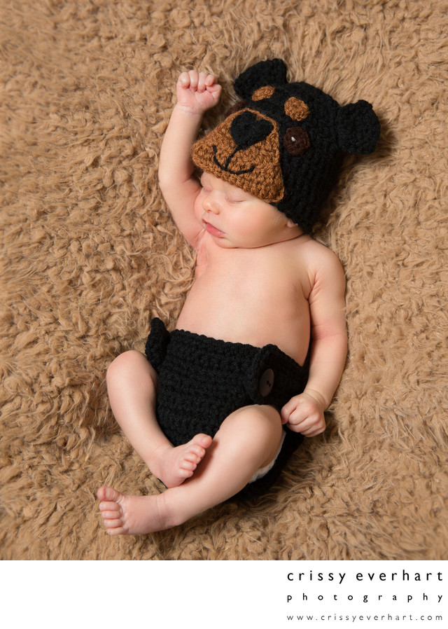 Paoli Newborn Photographer - Baby with Knit Dog Outfit