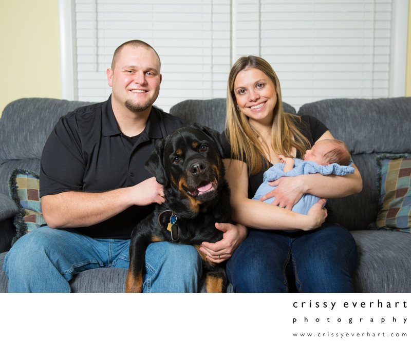 In Home Family Portraits with Dog and Newborn Baby