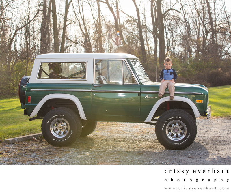 Vintage Car Portraits - Boy on Ford Bronco